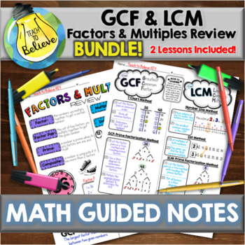 GCF and LCM & Factors and Multiples Review BUNDLE