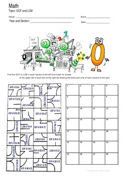math worksheet : gcf and lcm fun puzzle worksheet activity by math guru and little guru : Gcf And Lcm Worksheet