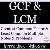 Greatest Common Factor Least Common Multiple Color Coded  Interactive Notebook