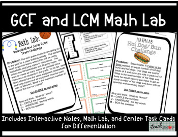 GCF and LCM Interactive Notes, Math Lab,  and Task Cards