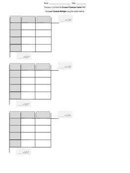 GCF and LCM - Ladder Method