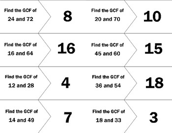 GCF and LCM Matching Card Sort