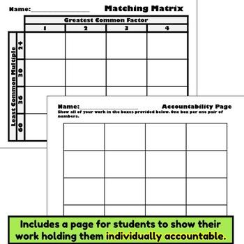GCF and LCM Matching Matrix