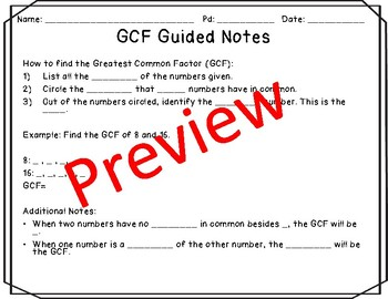GCF and LCM Notes and Practice Resources