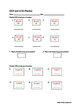 GCF and LCM Practice Worksheet