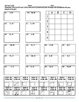 GCF and LCM Puzzle Activity Worksheet