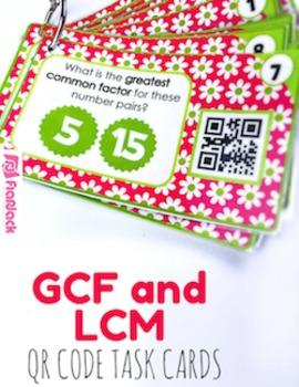GCF and LCM QR Code Fun - 4.OA.B.4