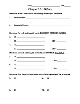GCF and LCM Quiz