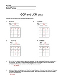 GCF and LCM Quiz using the Grid method