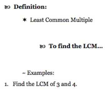 GCF and LCM Resources (Factors & Multiples Notes, Problems, & Activities)