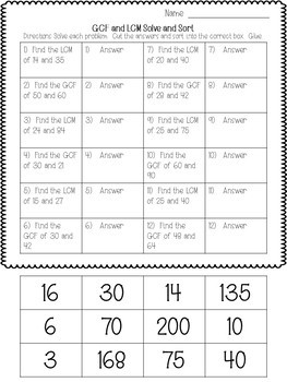 GCF and LCM Solve and Sort Worksheet