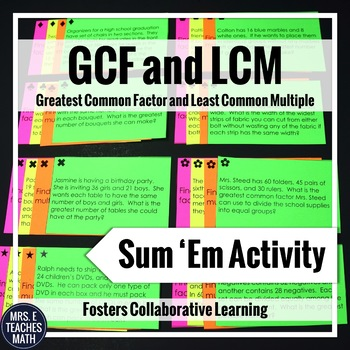 GCF and LCM Sum Em Activity: Word Problems