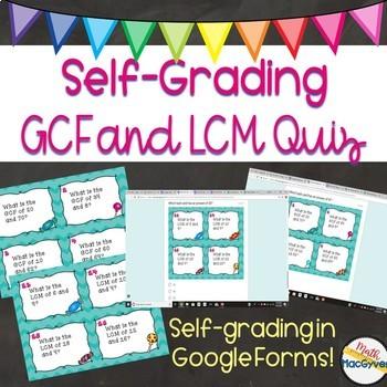 GCF and LCM Task Card Self-Grading Quiz- Google Forms