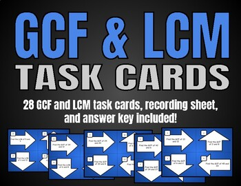 GCF and LCM Task Cards