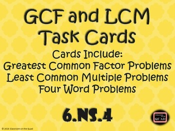 GCF and LCM Task Cards {6.NS.4}