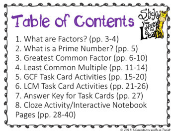 GCF and LCM Task Cards and Cloze Activity Notebook Bundle