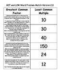 GCF and LCM Word Problem Sort and Match Version 2.0