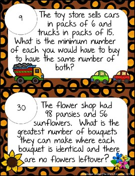 GCF and LCM Word Problems - Math Scavenger Quest