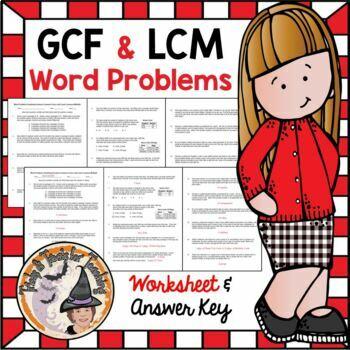 GCF and LCM Word Problems Practice Worksheet Homework