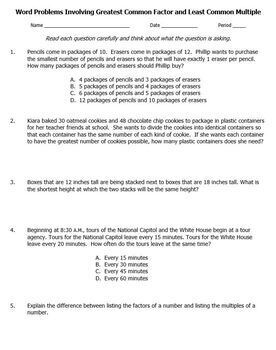 GCF and LCM Word Problems Greatest Least Common Multiple Factor Worksheet