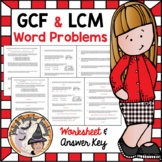 GCF and LCM Word Problems Worksheet and Answer KEY