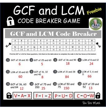 GCF and LCM code-breaker activity - FREE