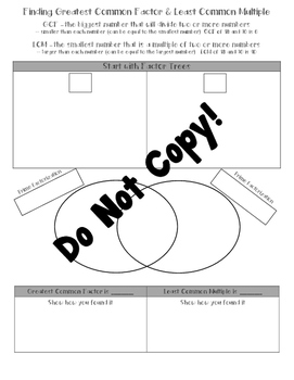 GCF and LCM with Venn Diagrams & Factor Trees Worksheet/Ma