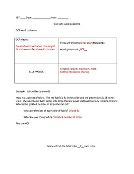 GCF and LCM word problem notes and practice