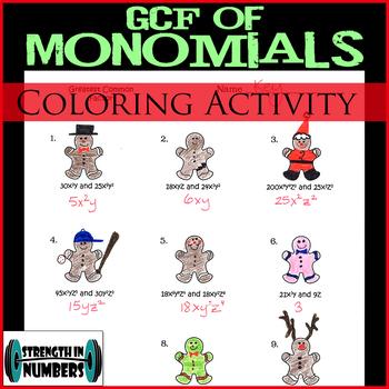 GCF of Monomials/Algebraic Expressions Christmas Gingerbread Coloring
