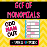 GCF of Monomials - Odd Man Out