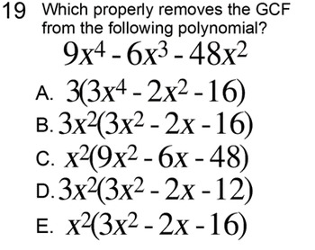 GCF of Polynomials, Student Reference & 3 Assignments for Power Point, Socrative