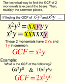 GCF of Polynomials, Student Reference & 5 Assignments for Power Point, Socrative