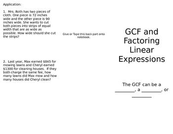 Factoring Expressions, GCF, Monomials Foldable