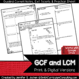 GCM and LCF Guided Cornell Notes | Printable & Digital | D