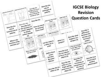 GCSE BIOLOGY - Characteristics of Living Organisms  Revision Question Cards