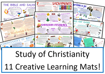 GCSE Christianity 11 Learning Mats Revision Sheets for Whole Unit