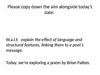 "GCSE, English Lit, Poetry, Close reading, ""Geography Teacher"" Brian Patten"