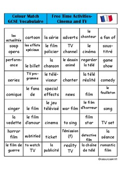 GCSE FRENCH - Free Time Activities - Cinema and TV - COLOUR MATCH