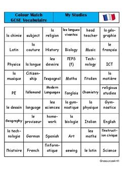 GCSE FRENCH - My Studies - COLOUR MATCH