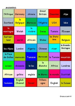 GCSE FRENCH - Travel and Tourism 2 (Geography) - COLOUR MATCH