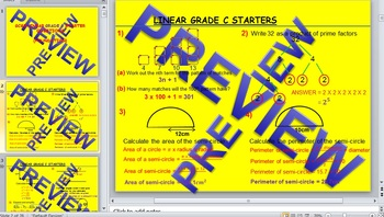 GCSE KS4 (Grade 8-11) Maths Starters (C Grade - Questions with answers) -