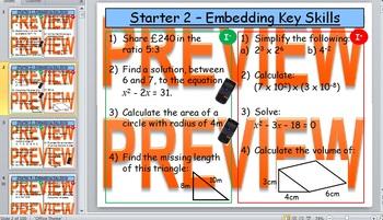 GCSE KS4 (Grade 8-11) Maths Starters - Intermediate - Basic and Advanced