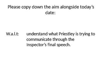 """GCSE, KS4, Modern Texts, """"An Inspector Calls"""", the Inspector's final speech"""