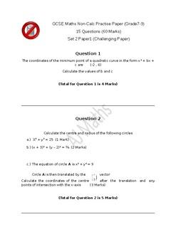 GCSE Maths Paper 1H TOUGH Exam Grade7-9 (Grade 10 Equivalent USA)