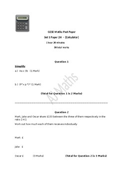 GCSE Maths Paper 2H Calc (10th Grade Equivalent)