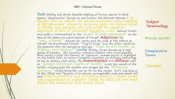 GCSE Power + Conflict Poetry - Sample Answers - Ozymandias  and Exposure