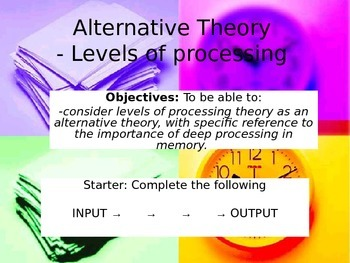 GCSE Psychology Levels of Processing Powerpoint
