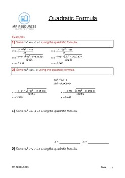 GCSE Quadratic Formula Worksheet