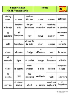 GCSE SPANISH - Home - COLOUR MATCH