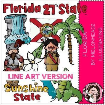 Florida state clip art - LINE ART- by Melonheadz